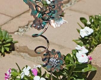 Butterfly Handmade Art With Flower Garden Plant Stake / Metal Garden Art / Copper Art / Outdoor Decor /