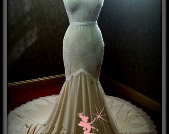 Light Nude and Ivory Chantilly Lace Stretch Mermaid Wedding Dress Perfect for Beach or Destination Wedding