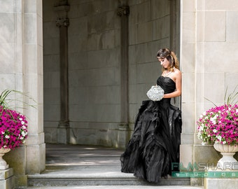 Black wedding dress etsy gorgeous black wedding dress with organza layers junglespirit Images
