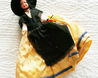 Vintage Romantic Home Buttercup Yellow, Shabby Blue, and Raven Black French Doll, Olives and Doves
