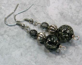 Black & Silver Earrings: Glass Bead Dangle Earrings, Retro Styled Earrings, Nickle-Free Earrings, Gifts for Her, Handmade in the USA