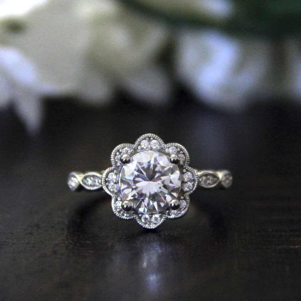 Flower Halo Wedding: 2.14 Ct.tw Art Deco Flower Ring-Halo Engagement Ring-Brilliant