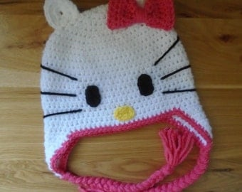 Hi Kitty Hat, Crochet Kitty Hat, Baby Cat Hat, Crochet Kitty Hello Hat, Crochet Hat for Girls, Crochet Animal Hat, Baby Photo Prop