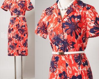 Vintage Red Dress, Mad Men Dress, Vintage 60s dress, Vintage Red floral dress, Vintage knit dress, Vintage Shirt dress,60s knit dress - L/XL