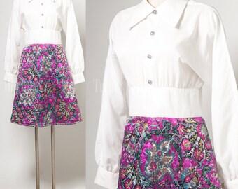 Vintage 60s Dress, Vintage white dress, Purple floral dress, party dress, Mad Men dress - S/M