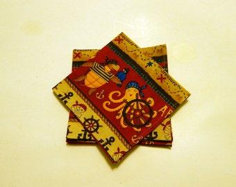Kids Red, Tan and Blue Pirates Cloth Napkins, Lunch Box Napkins, Children Cotton Napkins,/ Cloth Napkins,/ Napkins cloth,/