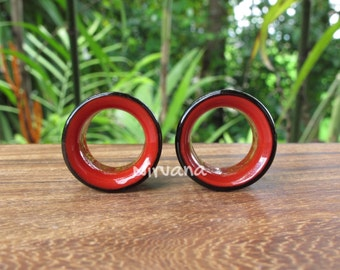 "Black & Red 2 Tone Tunnels Glass 6g 4g 2g 0G 00g 7/16"" 1/2"" 9/16"" 5/8"" 4 mm 5 mm 6 mm 8 mm 9.5 mm 10 mm 12 mm up to 1"" Inch (25.4 mm)"