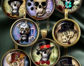 "Steampunk Skull - Digital Collage Sheets - 1.5"", 1.25"", 30mm, 25mm, 1"" circles Printable digital download for Bottle Caps CG-967C"