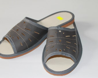 Dark grey summer slippers