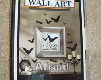 Halloween WALL ART Sticker Be Afraid with Bats Re-position Stickers Stick and Peel Halloween Party Indoor Stickers