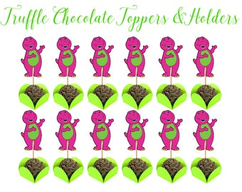 BARNEY, BARNEY CHOCOLATE Holders, Barney Party Printable, Barney Candy Holders, Barney Party Favors, Barney Treat Holders, Cupcake Toppers.