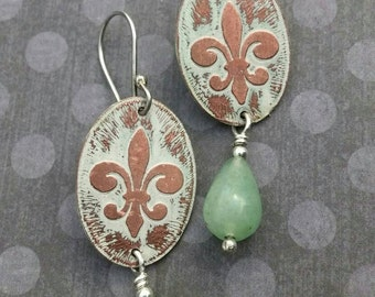 Handmade Etched Copper Fleur de Lis Earrings