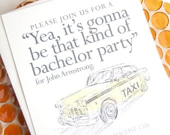 Bachelor Party Invitations Yellow Taxi Watercolor, Birthday Party Invitations (set of 25 cards and white envelopes)