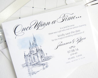Fairytale Wedding, Cinderella's Castle, Disney Inspired World Resort, Orlando Wedding Watercolor Save the Date Cards (set of 25 cards)