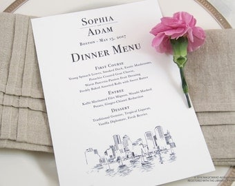Boston Skyline Dinner Menus (Sold in sets of 25)