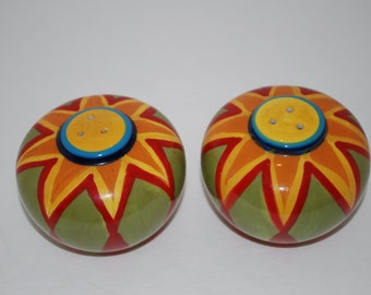 Salt and Pepper Shakers Sun Handpainted