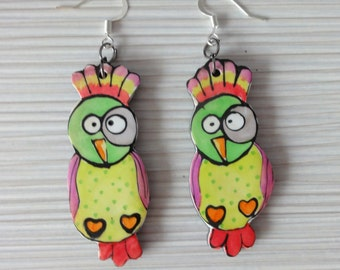 Earrings Birds polymer clay.