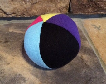 Purple Yellow Hot Pink and Black Squeaker Ball Fleece Dog Ball Toy Squeaker Dog Toy Puppy Chew Toy