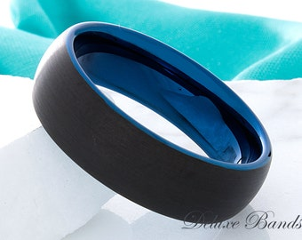 Blue Tungsten Wedding Ring Blue Black 8mm Promise Ring Tungsten Ring Mens Womens Anniversary Ring Engagement Ring Comfort Fit Personalized