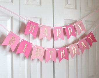 Gold and Pink Happy Birthday Banner/ Girl Birthday/ Princess Party/ Child Birthday/ Party Decoration/ Party banner/