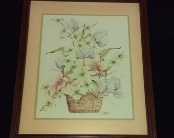 Vintage 1980's Home Interior, Homco, Wood Framed Floral Watercolor Print by Casey, Picture, Wall Hanging, Home Decor