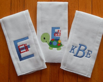Personalized Burp Cloths/Monogram Burp Cloths/Set of 3 Burp Cloths for Baby Boy or Baby Girl/Turtle Burp Cloths/Personalized Baby Item