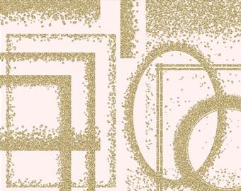 GLITTER GOLD FRAMES ClipArt: Printable Glitter Gold Confetti frames, Transparent Png, glitter gold invitations, gold glitter overlays