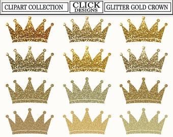 CROWN GLITTER GOLD Digital ClipArt: Glitter Gold Sparcle Shimmer Crown Clip Art, Prince, Princess, for invitation, Transparent Png