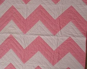 Pink & White Chevron Quilt