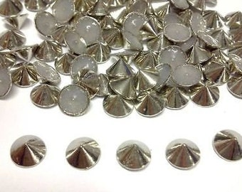100pcs 8mm Silver Hotfix Cone Spike Studs, Punk, DIY Fashion Gems, Stick On