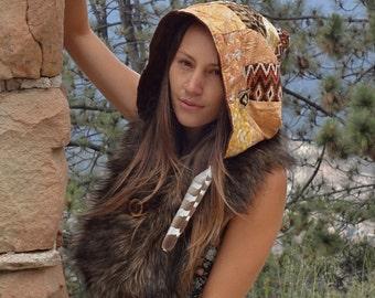 Gypsy Patchwork Hood Shawl- Antler button