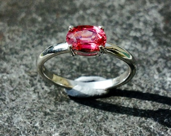Pink Spinel ring mounted in 9ct white gold. One of a kind piece.