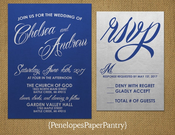 Wedding Invitations Royal Blue And Silver: Elegant Royal Blue And Silver Wedding By PenelopesPaperPantry