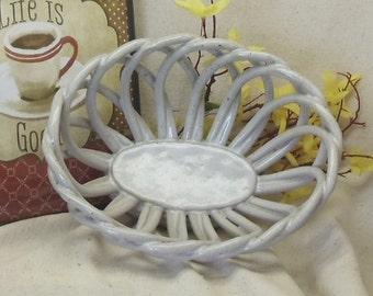 Vintage Handmade Gray Oval Lattice Ceramic Bread Bowl, #VH3039
