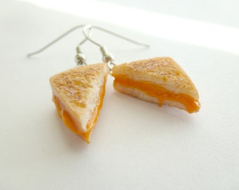 Grilled Cheese Earrings Miniature Food Jewelry Gifts for Her Polymer Clay