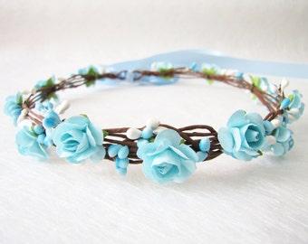 Wedding Floral Crown, Aqua Blue Flower Headband, Floral Head Wreath, Wedding Headband, Bridesmaid Flower Crown, Flower Girl Flower Crown