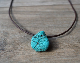 Turquoise Nugget Pendant - Leather and Turquoise Necklace - Turquoise Jewelry