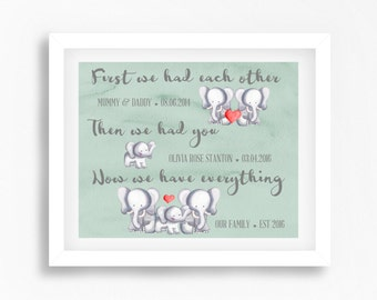 Mint Green Nursery Wall Art, First We Had Each Other Print, Gender Neutral Baby Decor, Personalised Baby Print, New Baby Gift, Mint Nursery