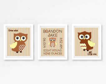 Personalised Gift for New Baby, Owl Nursery Wall Art, Brown Nursery Decor,Brown Owl Nursery, Christening Gift for Baby, Owl Nursery Print