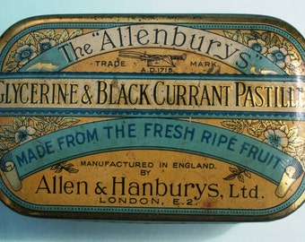 Allenbury's' Glycerine & Blackcurrant Pastilles early 20th century tin