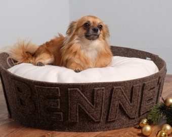 pet gift dog gift designer dog bed modern cat bed natural felt and fleece modern dogbed