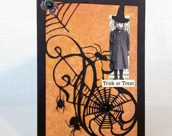 Halloween Card, Vintage Little Girl Card, Spider Web Card, Vintage Card, Collage Card, Handmade Card, Spider