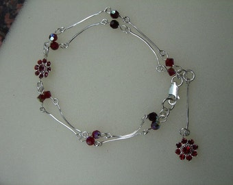 925 silver bracelet with sparkling red flowers!