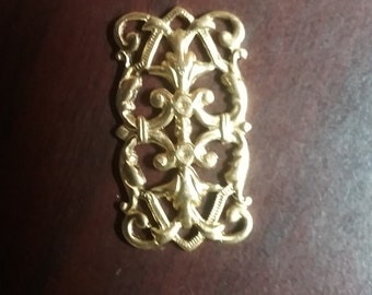 4 pc Raw Brass Rectangle Hollow Flower Filigree Finding Connector