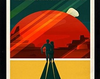 Spacex Mars Poster Phobos and Deimos A+ Quality Framed