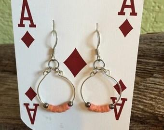 Silver & Coral Hoop Earrings