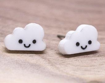 Happy Cloud Stud Earrings - Hypoallergenic Titanium Post Earrings - Kawaii Rain Cloud Ear Jewelry