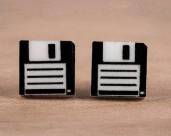 Floppy Disk Nerdy Earrings - Tiny Nerdy Earring Jewelry - Acrylic Earring Studs