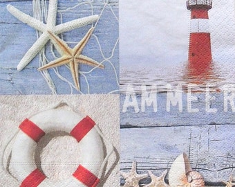 Set of 2 pcs 3-ply ''Am Meer'' luncheon paper napkins for Decoupage or collectibles 33x33cm, Tissue napkins, Servetten, Tovaglioli