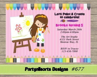 DIY - Artist/ Paint/Art Party Invitations